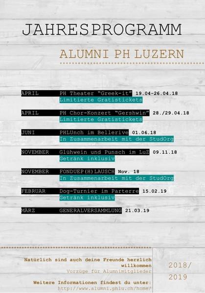 Jahresprogramm Alumni PH Luzern