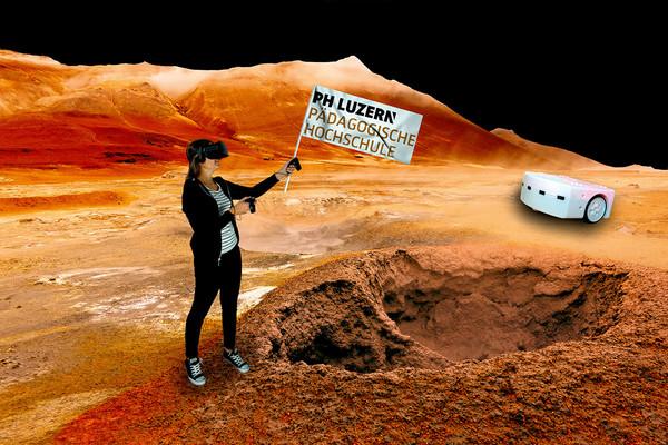Mädchen mit PH-Flagge auf dem Mars