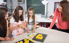 Lehrperson unterrichtet Schü¨lerinnen im Fach Natur und Technik