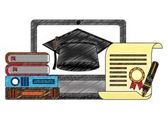 Grafik mit Büchern, Diplom und Doktorhut