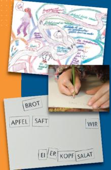 Kinderhände die schreiben und malen
